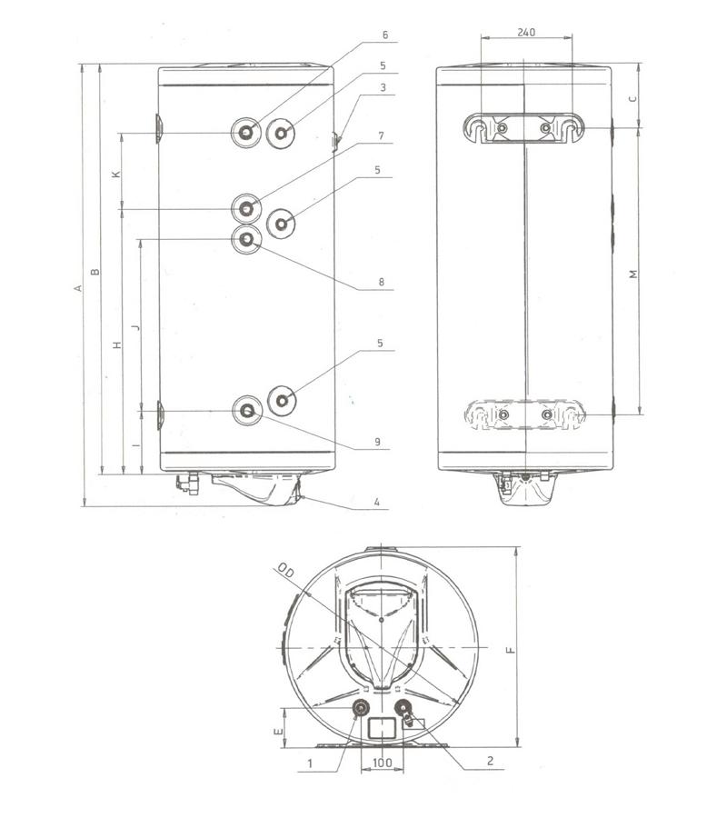 Схема бойлера косвенного нагрева Roda